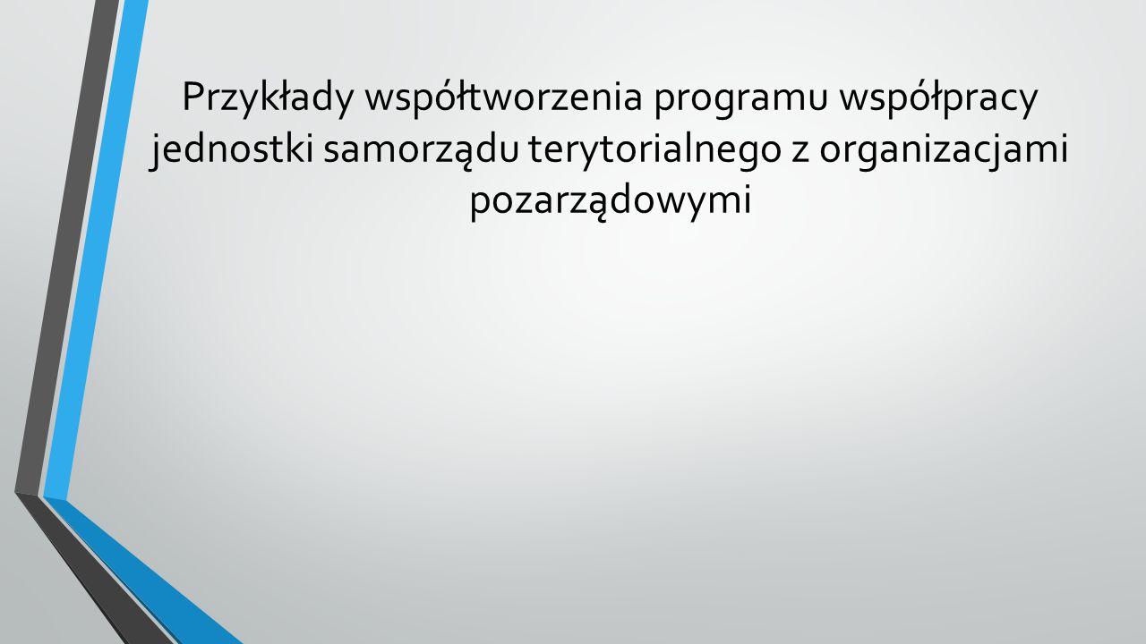 Przykłady współtworzenia programu współpracy jednostki samorządu terytorialnego z organizacjami pozarządowymi