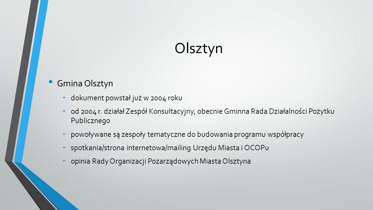 Olsztyn Gmina Olsztyn - dokument powstał już w 2004 roku - od 2004 r. działał Zespół Konsultacyjny, obecnie Gminna Rada Działalności Pożytku Publiczne