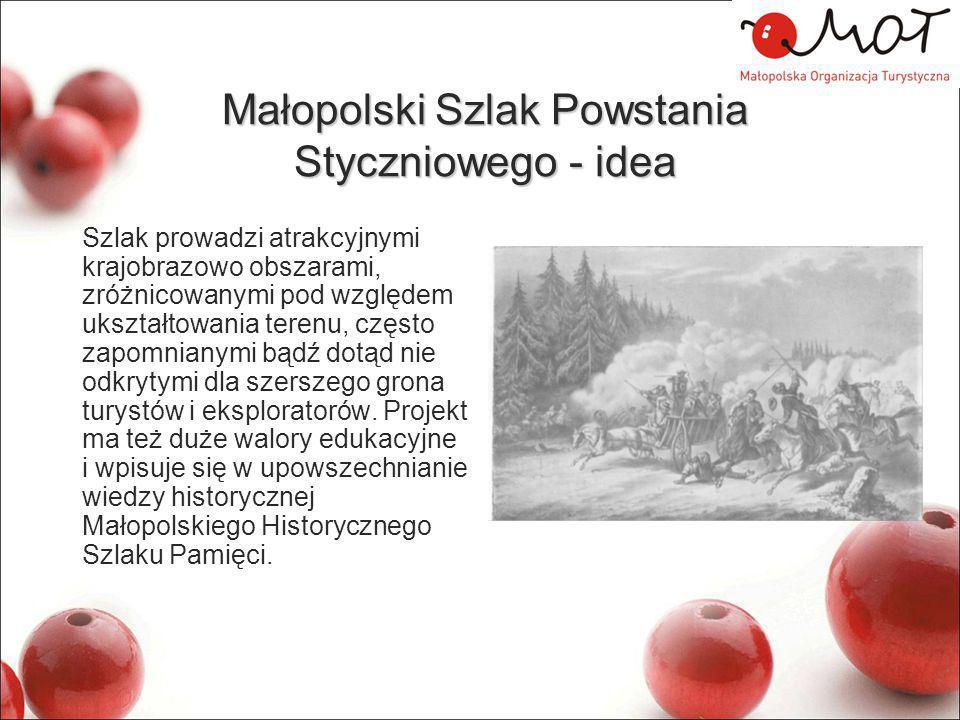 Małopolski Szlak Powstania Styczniowego - idea Szlak prowadzi atrakcyjnymi krajobrazowo obszarami, zróżnicowanymi pod względem ukształtowania terenu, często zapomnianymi bądź dotąd nie odkrytymi dla szerszego grona turystów i eksploratorów.