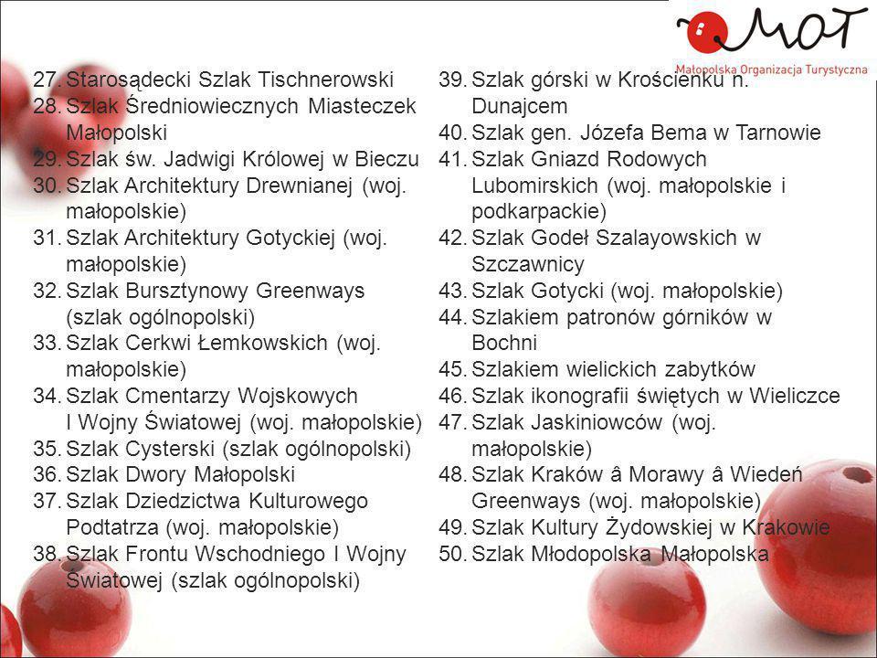 27.Starosądecki Szlak Tischnerowski 28.Szlak Średniowiecznych Miasteczek Małopolski 29.Szlak św.
