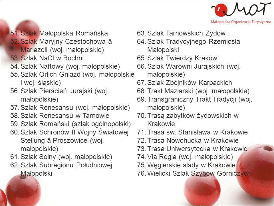 51.Szlak Małopolska Romańska 52.Szlak Maryjny Częstochowa â Mariazell (woj. małopolskie) 53.Szlak NaCl w Bochni 54.Szlak Naftowy (woj. małopolskie) 55