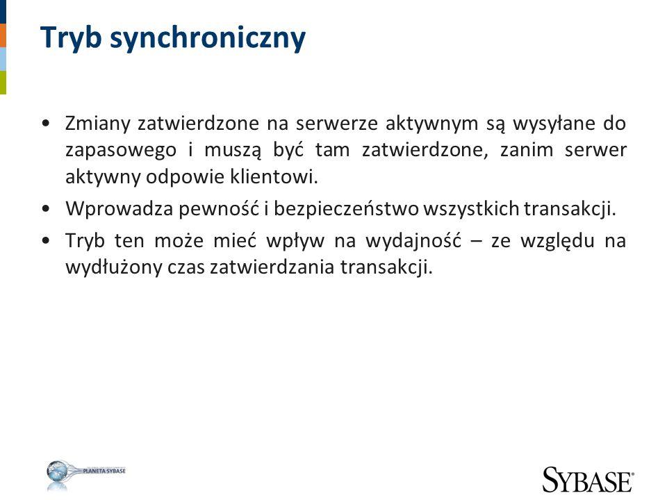 Tryb synchroniczny Zmiany zatwierdzone na serwerze aktywnym są wysyłane do zapasowego i muszą być tam zatwierdzone, zanim serwer aktywny odpowie klien