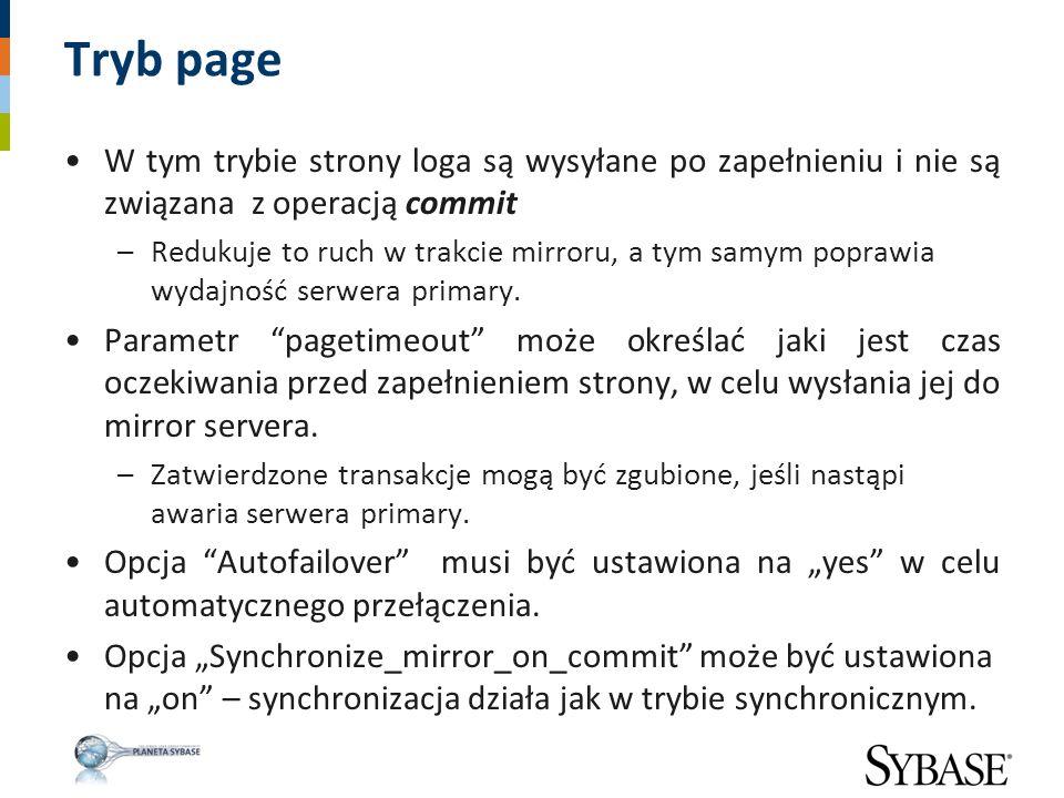 Tryb page W tym trybie strony loga są wysyłane po zapełnieniu i nie są związana z operacją commit –Redukuje to ruch w trakcie mirroru, a tym samym pop