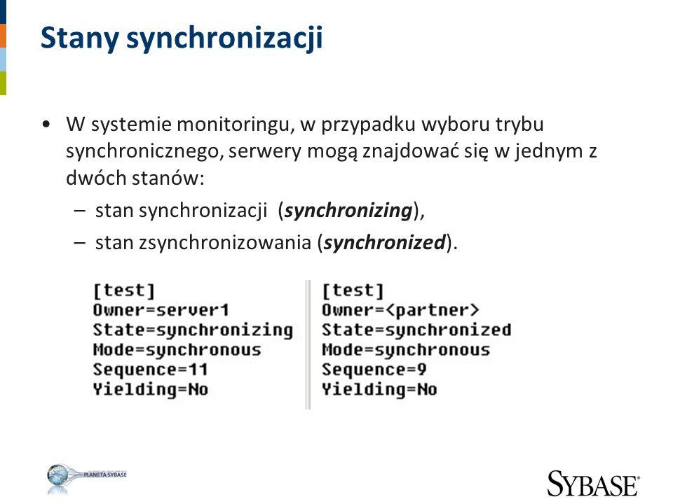 Stany synchronizacji W systemie monitoringu, w przypadku wyboru trybu synchronicznego, serwery mogą znajdować się w jednym z dwóch stanów: –stan synch