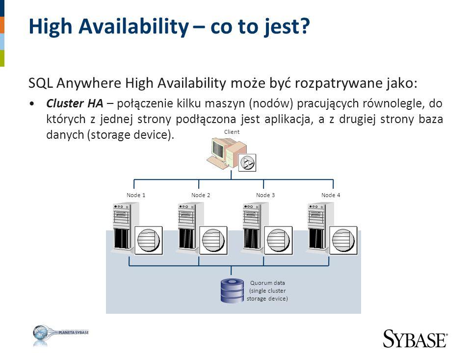 SQL Anywhere High Availability może być rozpatrywane jako: Cluster HA – połączenie kilku maszyn (nodów) pracujących równolegle, do których z jednej st