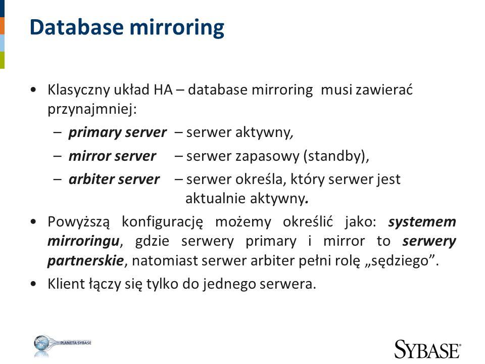 Database mirroring Klasyczny układ HA – database mirroring musi zawierać przynajmniej: –primary server – serwer aktywny, –mirror server – serwer zapas