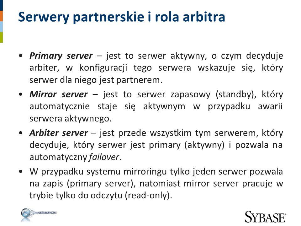Serwery partnerskie i rola arbitra Primary server – jest to serwer aktywny, o czym decyduje arbiter, w konfiguracji tego serwera wskazuje się, który s
