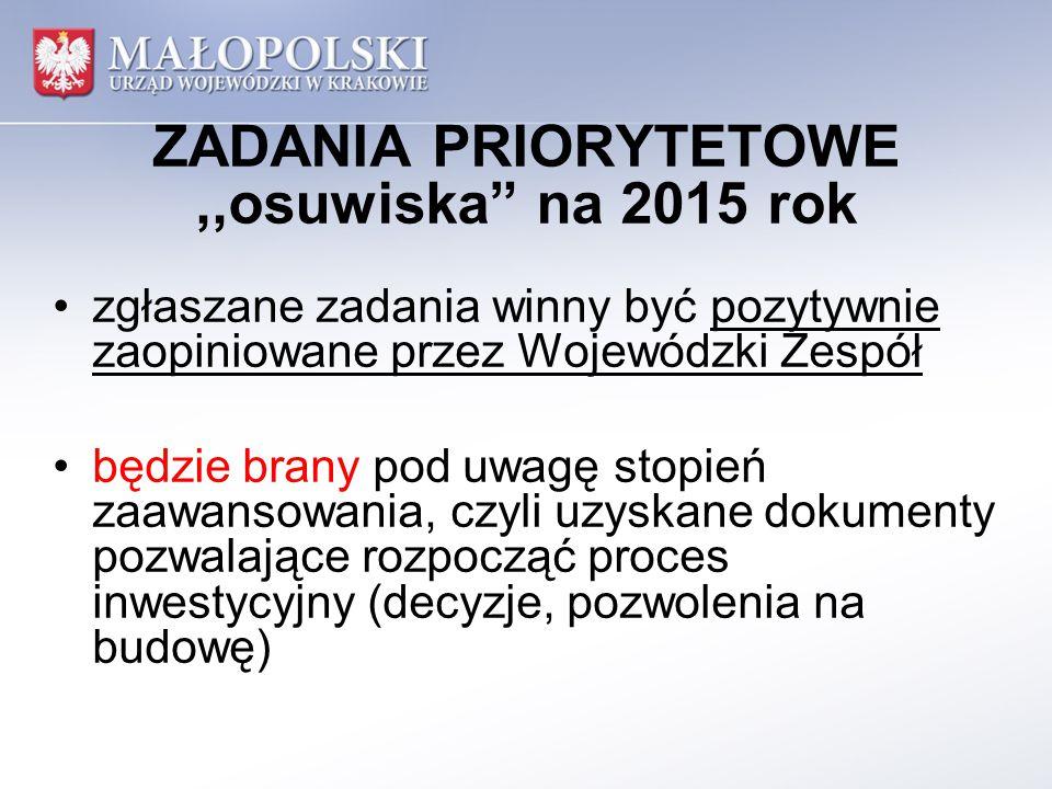 """ZADANIA PRIORYTETOWE,,osuwiska"""" na 2015 rok zgłaszane zadania winny być pozytywnie zaopiniowane przez Wojewódzki Zespół będzie brany pod uwagę stopień"""