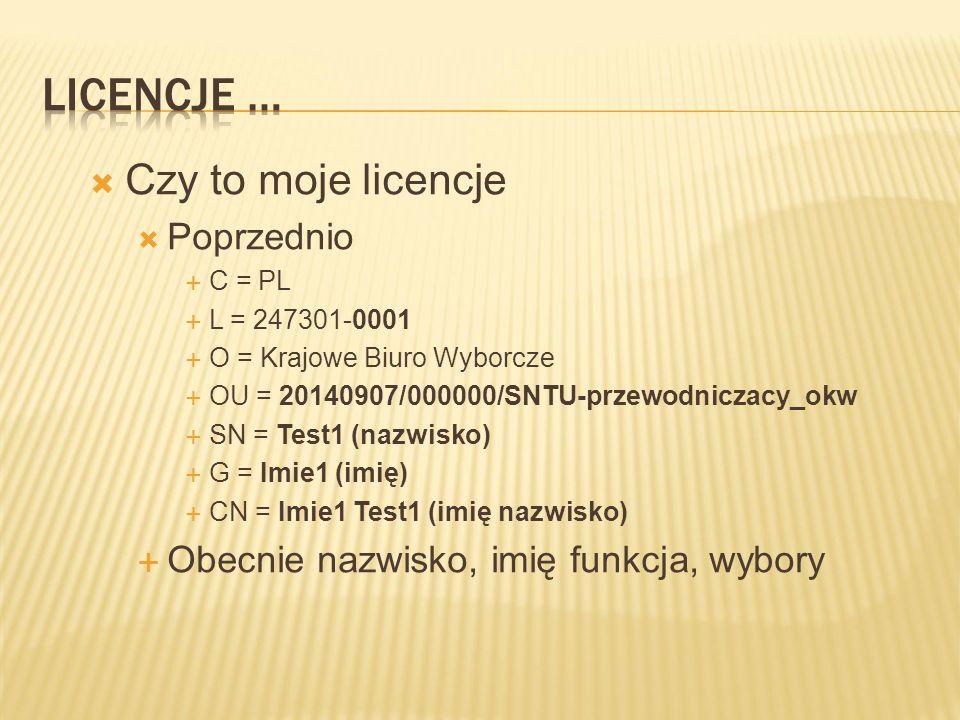  Czy to moje licencje  Poprzednio  C = PL  L = 247301-0001  O = Krajowe Biuro Wyborcze  OU = 20140907/000000/SNTU-przewodniczacy_okw  SN = Test1 (nazwisko)  G = Imie1 (imię)  CN = Imie1 Test1 (imię nazwisko)  Obecnie nazwisko, imię funkcja, wybory
