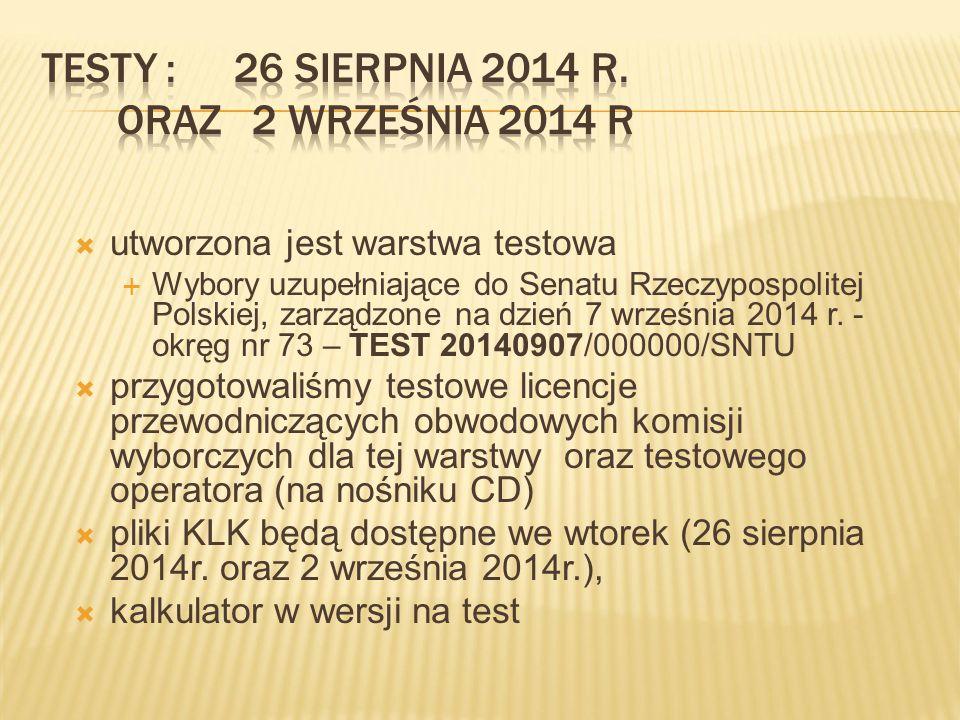  utworzona jest warstwa testowa  Wybory uzupełniające do Senatu Rzeczypospolitej Polskiej, zarządzone na dzień 7 września 2014 r.