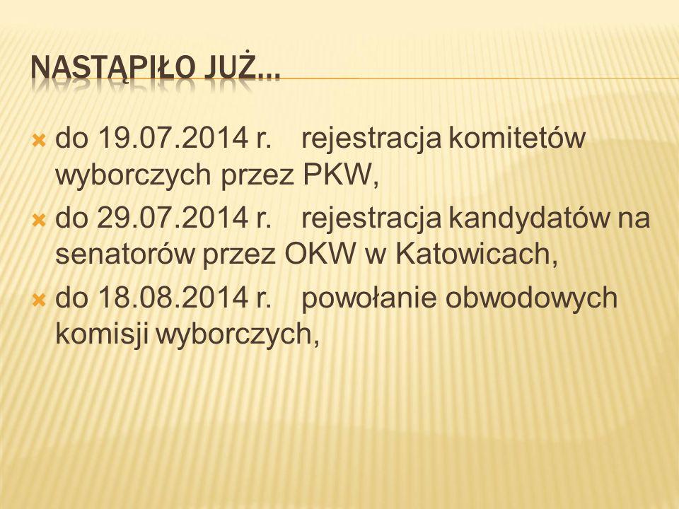  do 19.07.2014 r.rejestracja komitetów wyborczych przez PKW,  do 29.07.2014 r.rejestracja kandydatów na senatorów przez OKW w Katowicach,  do 18.08.2014 r.