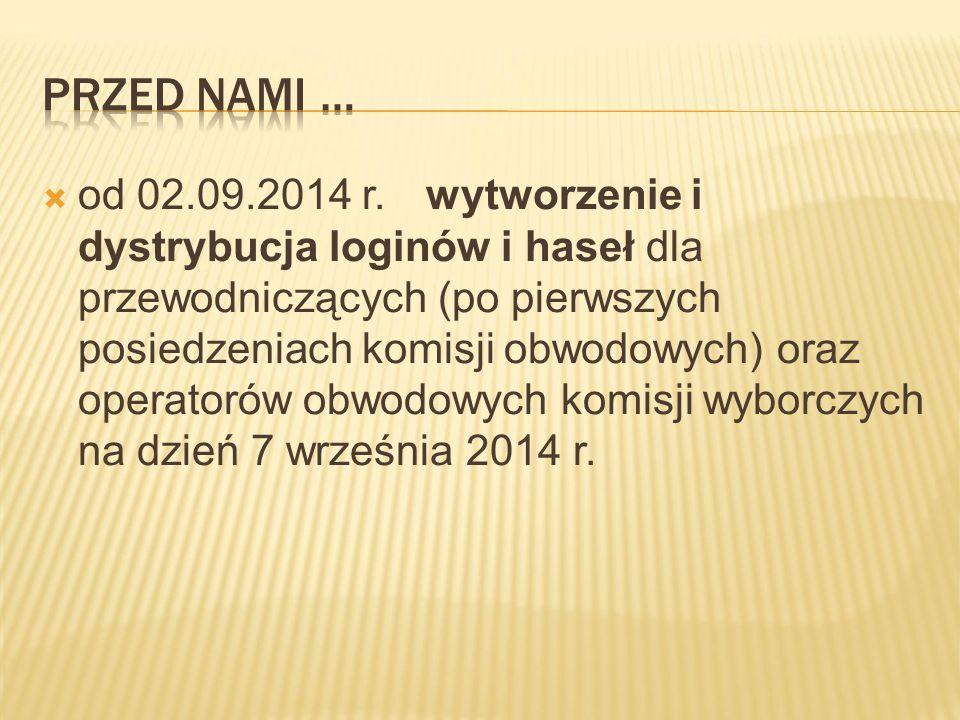  od 02.09.2014 r.wytworzenie i dystrybucja loginów i haseł dla przewodniczących (po pierwszych posiedzeniach komisji obwodowych) oraz operatorów obwodowych komisji wyborczych na dzień 7 września 2014 r.