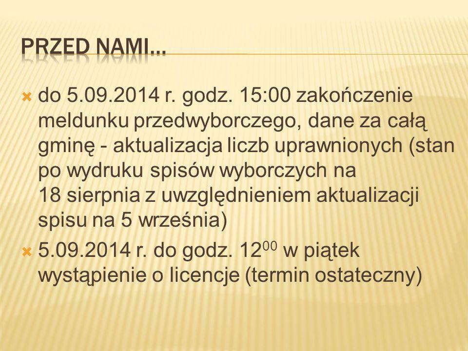 Aby zapewnić prawidłową pracę systemu informatycznego w dniu wyborów należy: zakończyć meldunek przedwyborczy w dniu 5 września 2014 r.