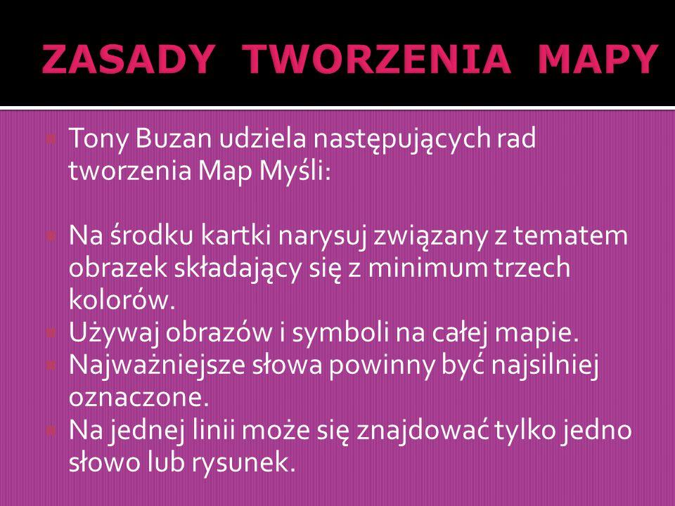  Tony Buzan udziela następujących rad tworzenia Map Myśli:  Na środku kartki narysuj związany z tematem obrazek składający się z minimum trzech kolo