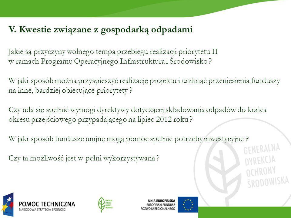 V. Kwestie związane z gospodarką odpadami Jakie są przyczyny wolnego tempa przebiegu realizacji priorytetu II w ramach Programu Operacyjnego Infrastru