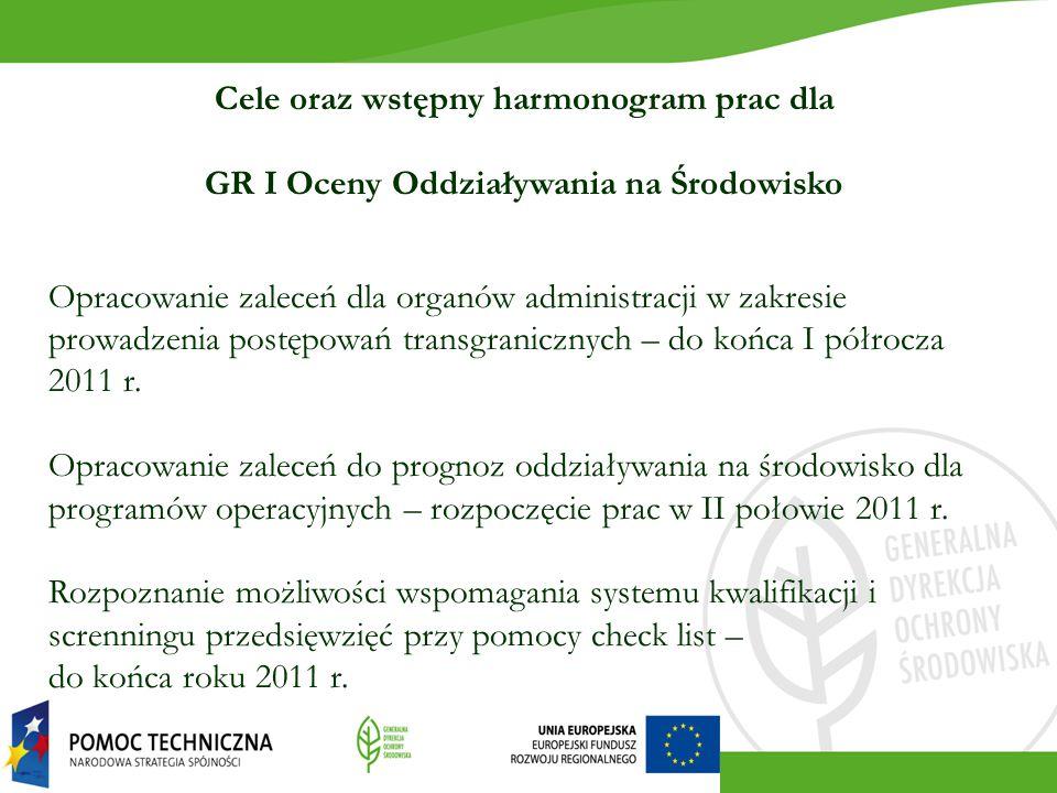 Cele oraz wstępny harmonogram prac dla GR I Oceny Oddziaływania na Środowisko Opracowanie zaleceń dla organów administracji w zakresie prowadzenia pos