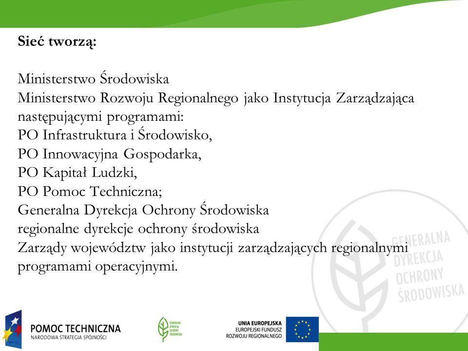 Sieć tworzą: Ministerstwo Środowiska Ministerstwo Rozwoju Regionalnego jako Instytucja Zarządzająca następującymi programami: PO Infrastruktura i Środ