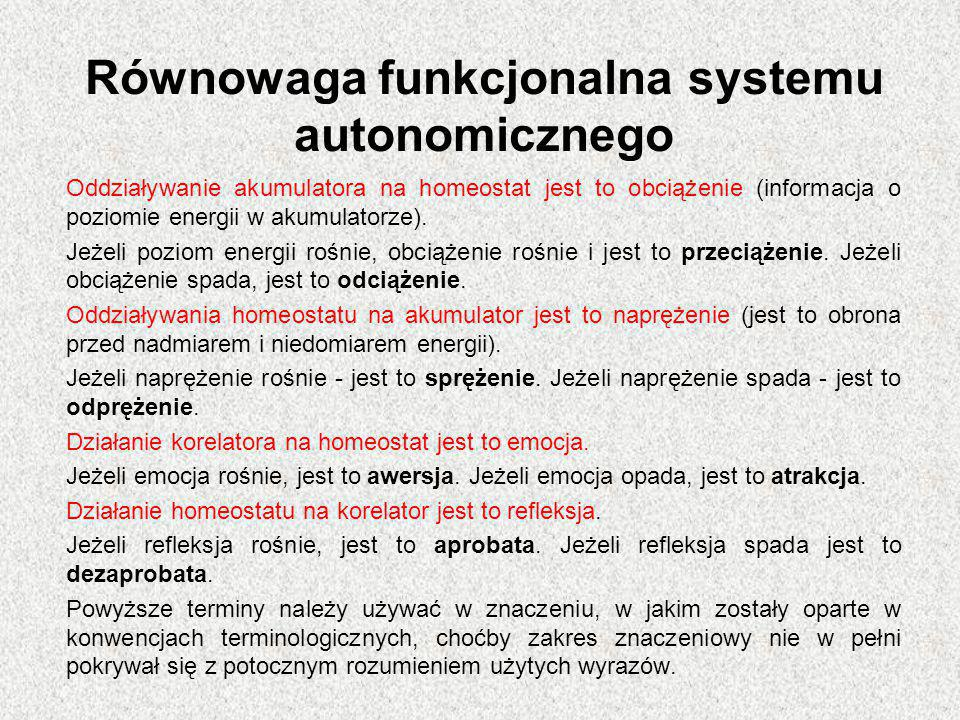 Równowaga funkcjonalna systemu autonomicznego Oddziaływanie akumulatora na homeostat jest to obciążenie (informacja o poziomie energii w akumulatorze)