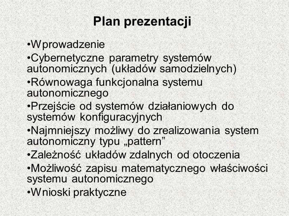 Plan prezentacji Wprowadzenie Cybernetyczne parametry systemów autonomicznych (układów samodzielnych) Równowaga funkcjonalna systemu autonomicznego Pr
