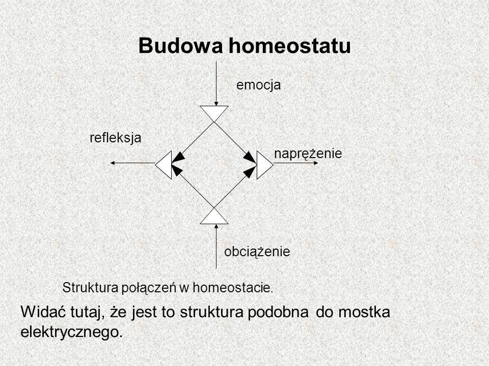 Budowa homeostatu Struktura połączeń w homeostacie. Widać tutaj, że jest to struktura podobna do mostka elektrycznego. emocja obciążenie naprężenie re