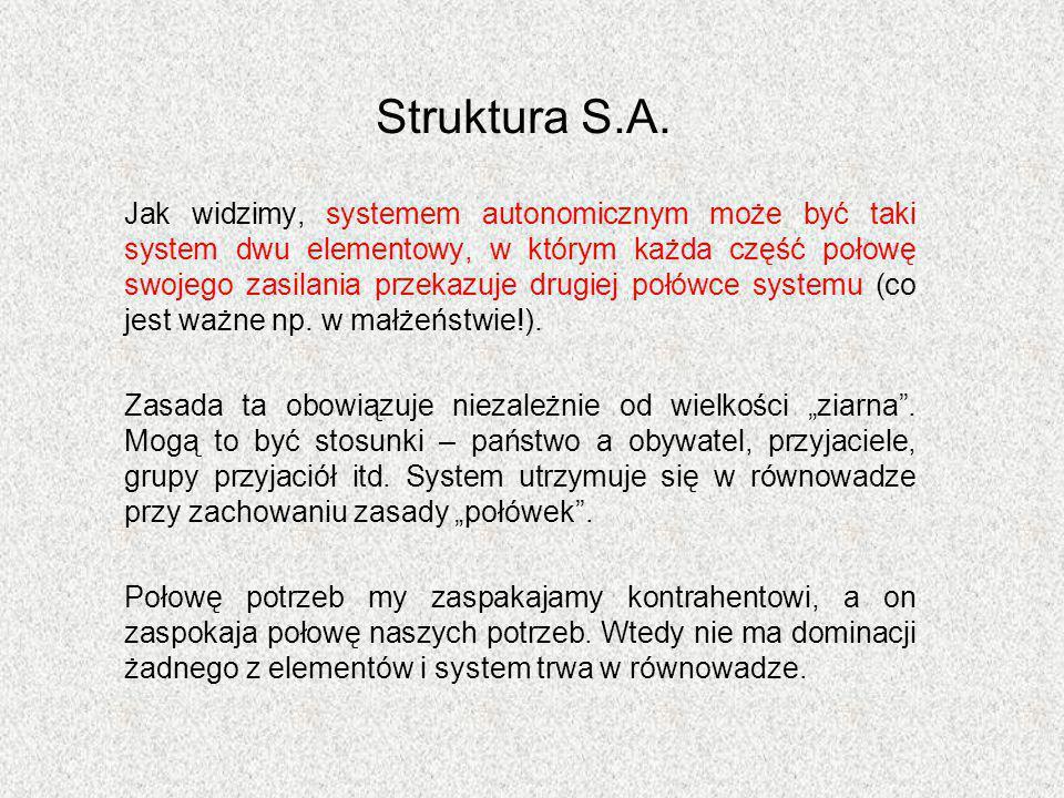 Struktura S.A. Jak widzimy, systemem autonomicznym może być taki system dwu elementowy, w którym każda część połowę swojego zasilania przekazuje drugi