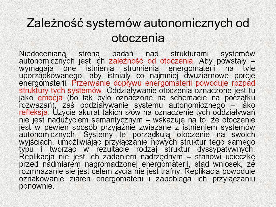 Zależność systemów autonomicznych od otoczenia Niedocenianą stroną badań nad strukturami systemów autonomicznych jest ich zależność od otoczenia. Aby