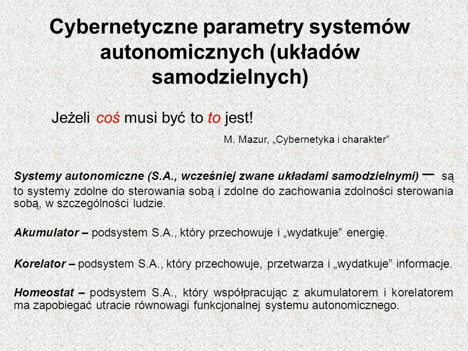 Cybernetyczne parametry systemów autonomicznych (układów samodzielnych) Systemy autonomiczne (S.A., wcześniej zwane układami samodzielnymi) – są to sy