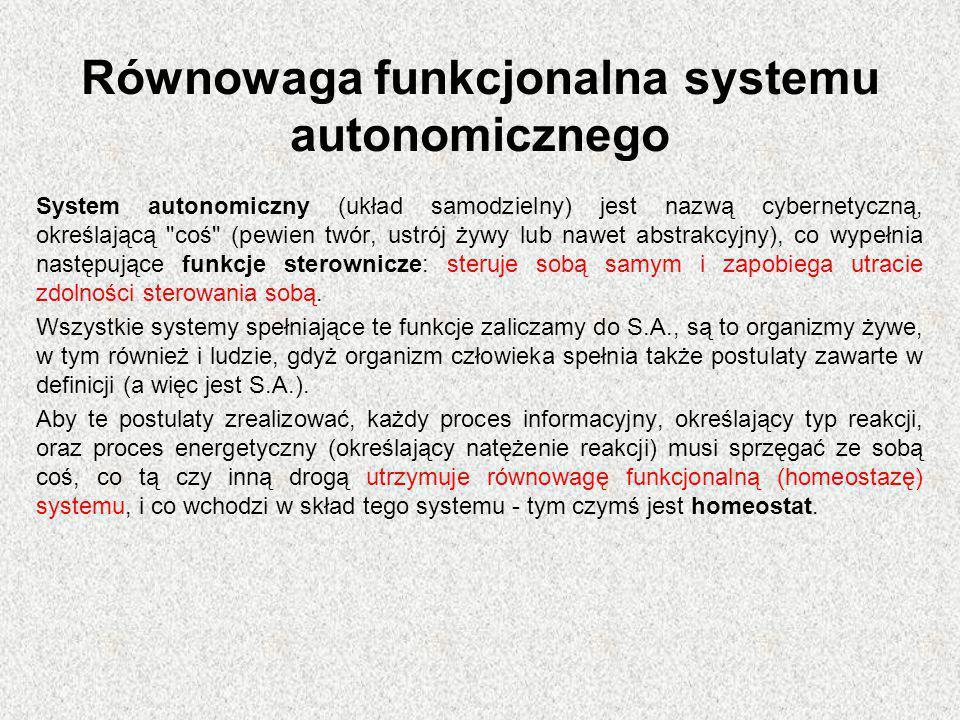 Równowaga funkcjonalna systemu autonomicznego System autonomiczny (układ samodzielny) jest nazwą cybernetyczną, określającą