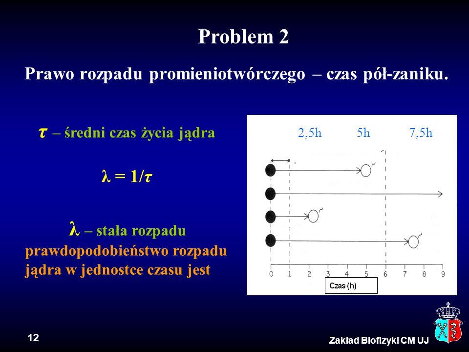 12 Zakład Biofizyki CM UJ Prawo rozpadu promieniotwórczego – czas pół-zaniku. 2,5h 5h 7,5h λ – stała rozpadu prawdopodobieństwo rozpadu jądra w jednos