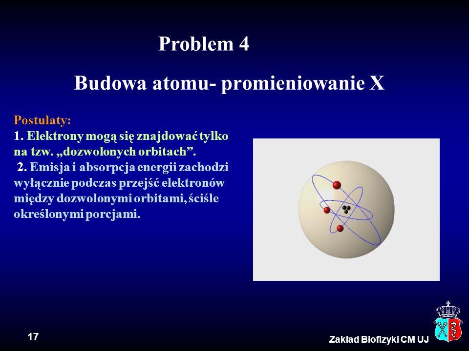 """17 Zakład Biofizyki CM UJ Budowa atomu- promieniowanie X Postulaty: 1. Elektrony mogą się znajdować tylko na tzw. """"dozwolonych orbitach"""". 2. Emisja i"""