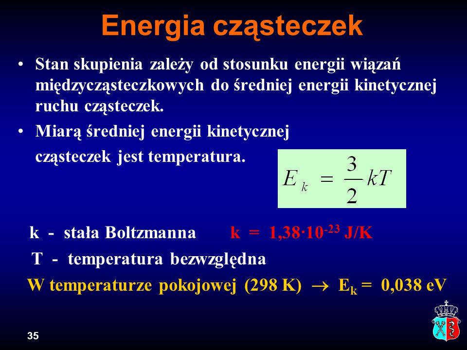 35 Energia cząsteczek Stan skupienia zależy od stosunku energii wiązań międzycząsteczkowych do średniej energii kinetycznej ruchu cząsteczek. Miarą śr