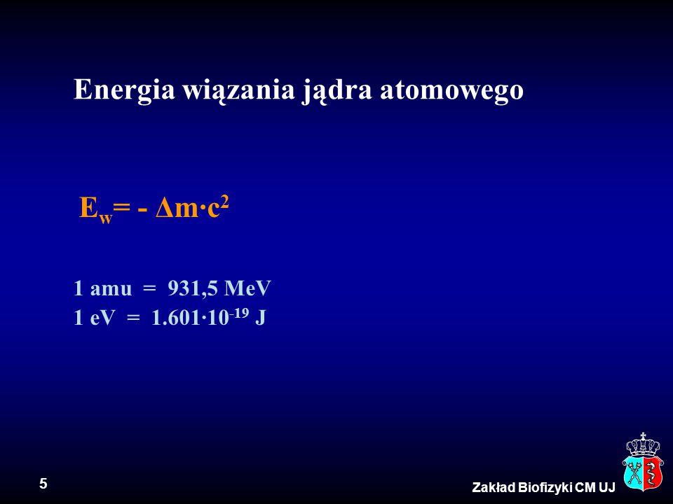 6 Zakład Biofizyki CM UJ Izotopy identyczne Z, różne A wodór  3 izotopy 1 H = p - proton 2 H = d - deuter 3 H = T - tryt jod  23 izotopy Z = 53, A = 117  139 Pierwiastki w przyrodzie to mieszanina izotopów, np.
