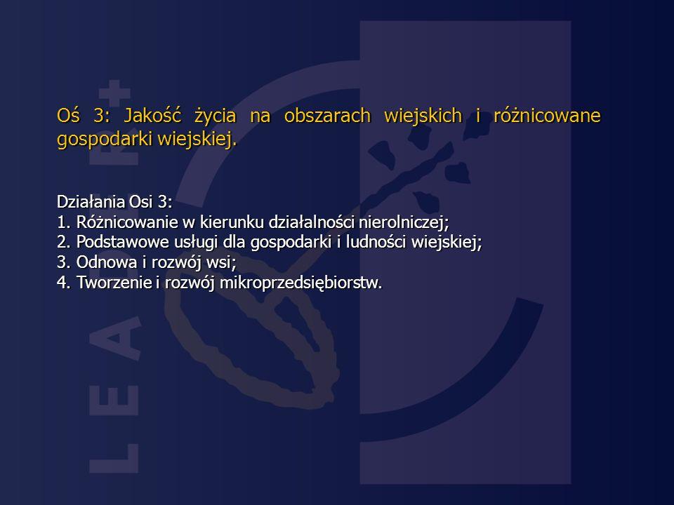 Oś 3: Jakość życia na obszarach wiejskich i różnicowane gospodarki wiejskiej.