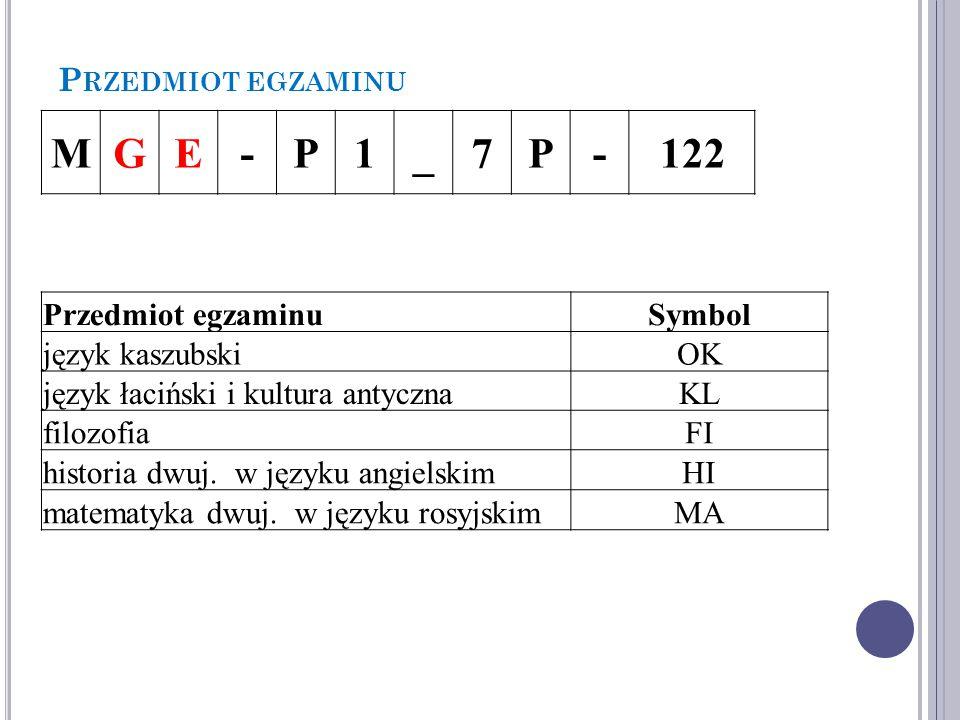 P RZEDMIOT EGZAMINU MGE-P1_7P-122 Przedmiot egzaminuSymbol język kaszubskiOK język łaciński i kultura antycznaKL filozofiaFI historia dwuj.