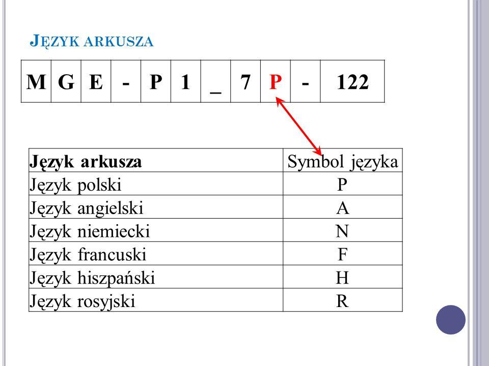 J ĘZYK ARKUSZA MGE-P1_7P-122 Język arkuszaSymbol języka Język polskiP Język angielskiA Język niemieckiN Język francuskiF Język hiszpańskiH Język rosyjskiR