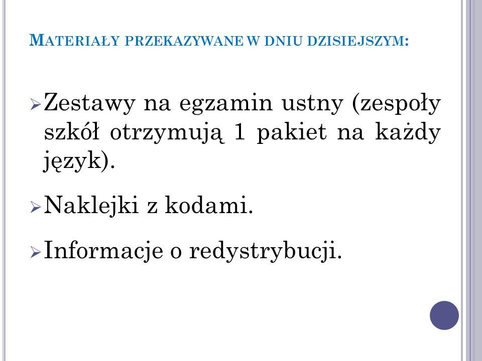 M ATERIAŁY PRZEKAZYWANE W DNIU DZISIEJSZYM :  Zestawy na egzamin ustny (zespoły szkół otrzymują 1 pakiet na każdy język).
