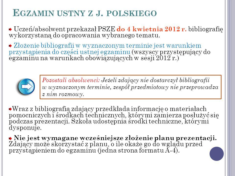 E GZAMIN USTNY Z J. POLSKIEGO Uczeń/absolwent przekazał PSZE do 4 kwietnia 2012 r.