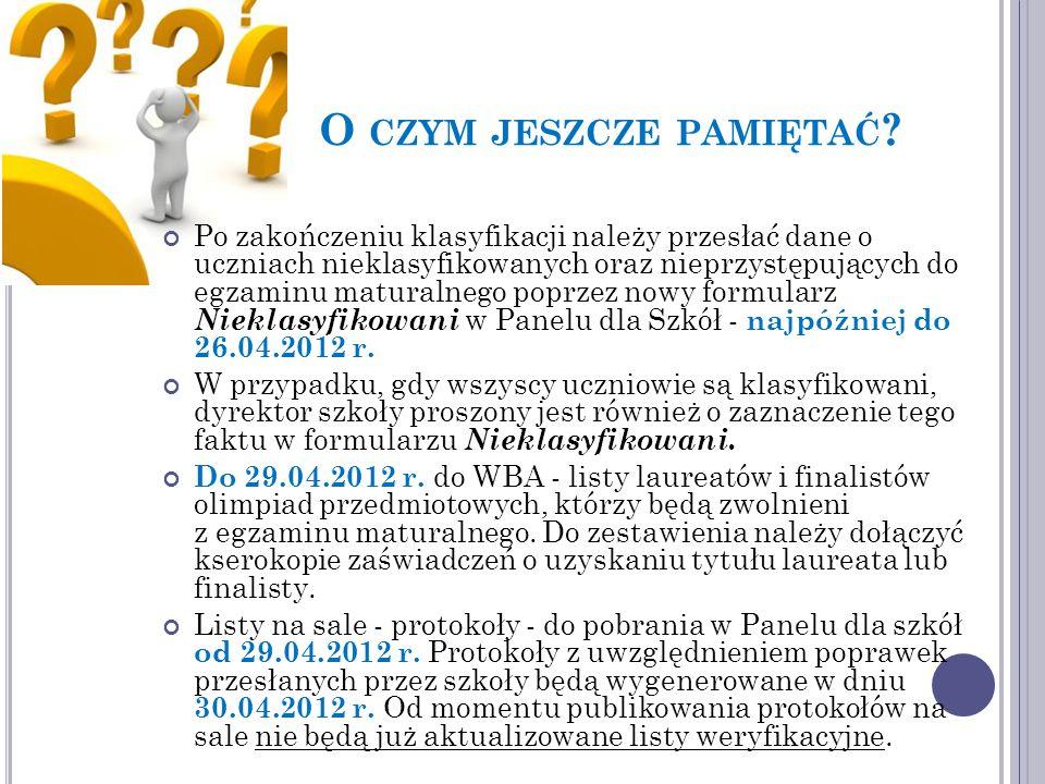Po zakończeniu klasyfikacji należy przesłać dane o uczniach nieklasyfikowanych oraz nieprzystępujących do egzaminu maturalnego poprzez nowy formularz Nieklasyfikowani w Panelu dla Szkół - najpóźniej do 26.04.2012 r.