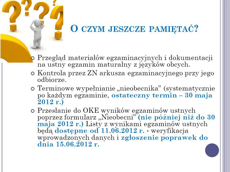 Przegląd materiałów egzaminacyjnych i dokumentacji na ustny egzamin maturalny z języków obcych.