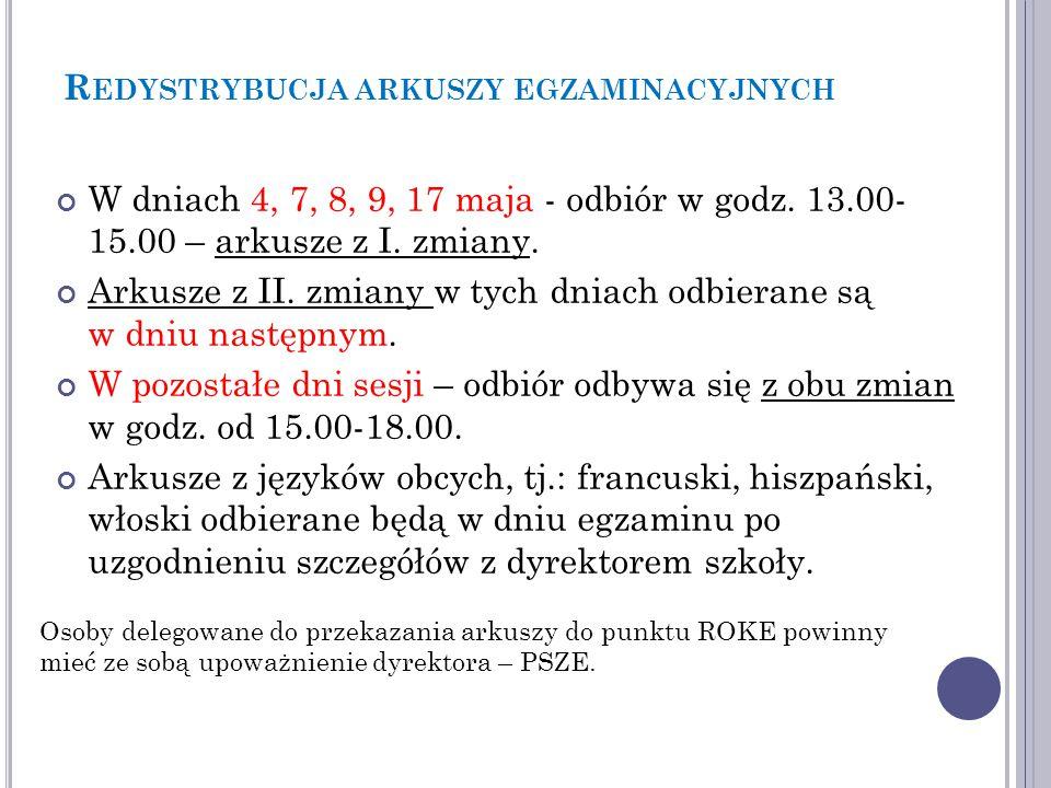 R EDYSTRYBUCJA ARKUSZY EGZAMINACYJNYCH Do opisu kopert bezpiecznych prosimy używać symboli arkuszy