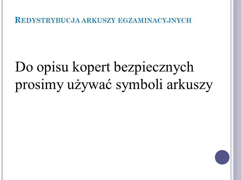 R EDYSTRYBUCJA ARKUSZY EGZAMINACYJNYCH Egzamin maturalny Przykładowy symbol arkusza Przedmiot egzaminu Symbol sesji Język arkusza Rodzaj arkusza Poziom MGE-P1_7P-122 Nr części