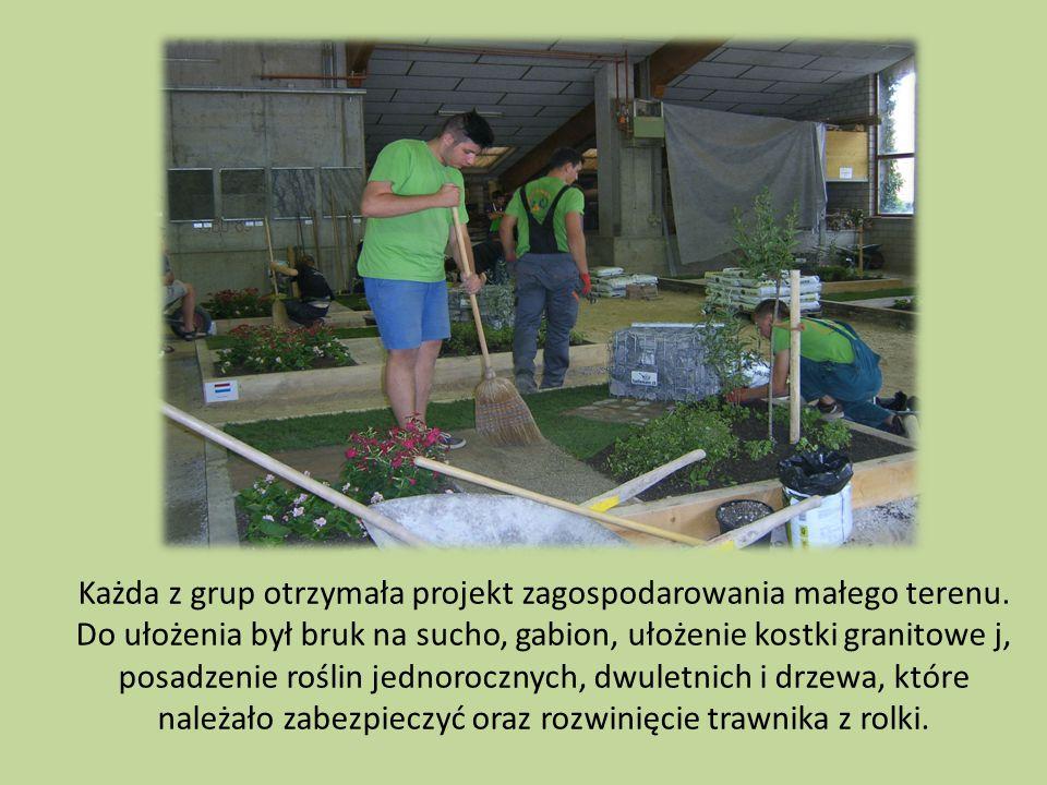 Każda z grup otrzymała projekt zagospodarowania małego terenu. Do ułożenia był bruk na sucho, gabion, ułożenie kostki granitowe j, posadzenie roślin j