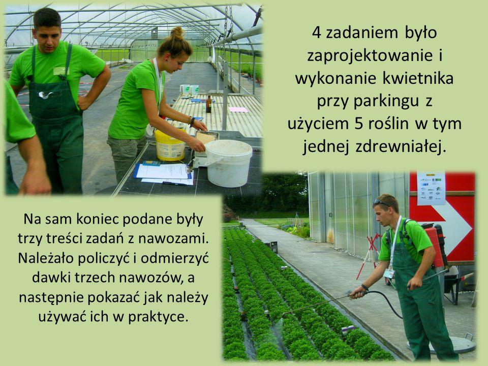 4 zadaniem było zaprojektowanie i wykonanie kwietnika przy parkingu z użyciem 5 roślin w tym jednej zdrewniałej. Na sam koniec podane były trzy treści