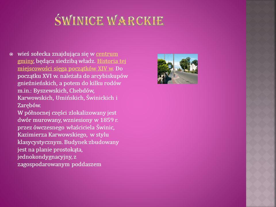  wieś sołecka znajdująca się w centrum gminy, będąca siedzibą władz. Historia tej miejscowości sięga początków XIV w. Do początku XVI w. należała do