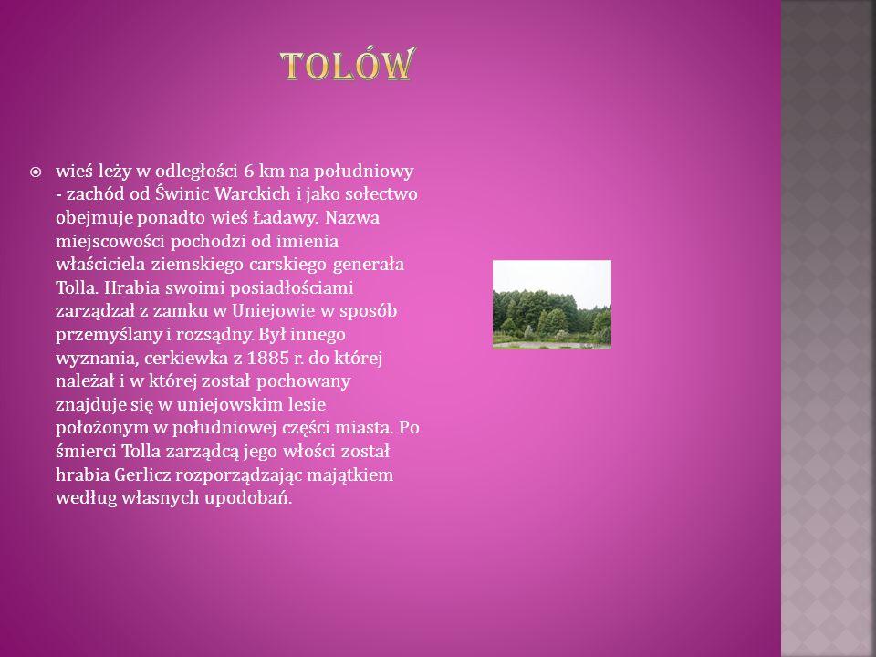  wieś leży w odległości 6 km na południowy - zachód od Świnic Warckich i jako sołectwo obejmuje ponadto wieś Ładawy. Nazwa miejscowości pochodzi od i