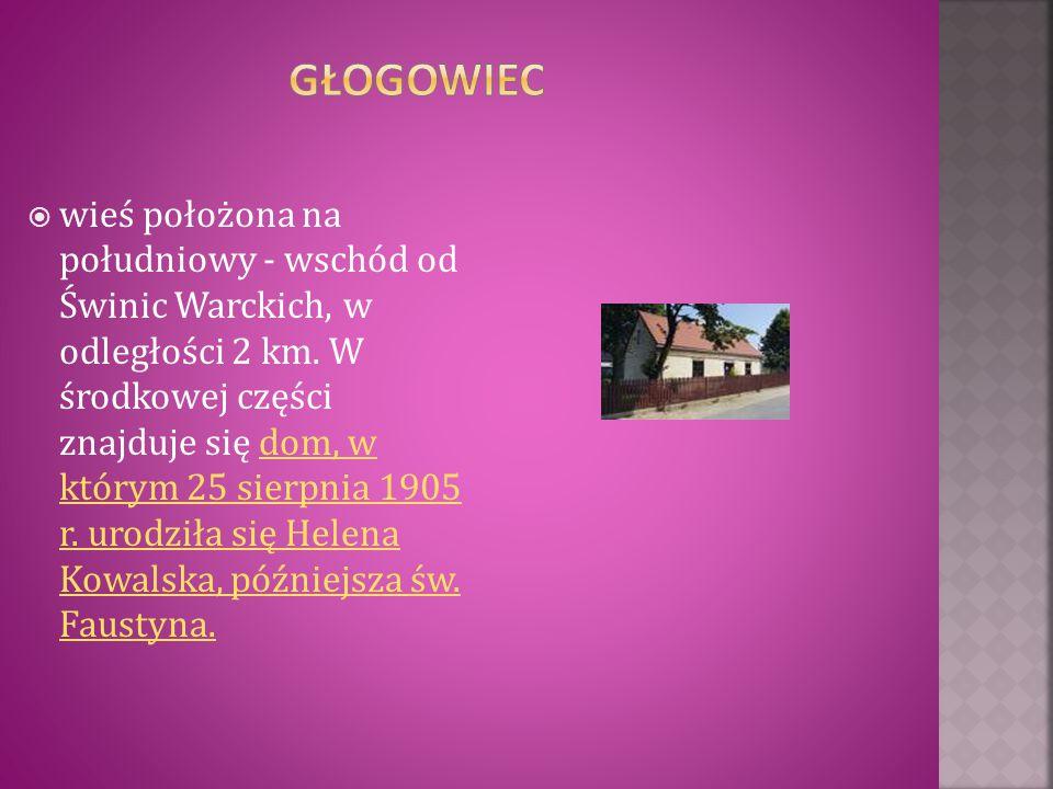  wieś położona na południowy - wschód od Świnic Warckich, w odległości 2 km. W środkowej części znajduje się dom, w którym 25 sierpnia 1905 r. urodzi