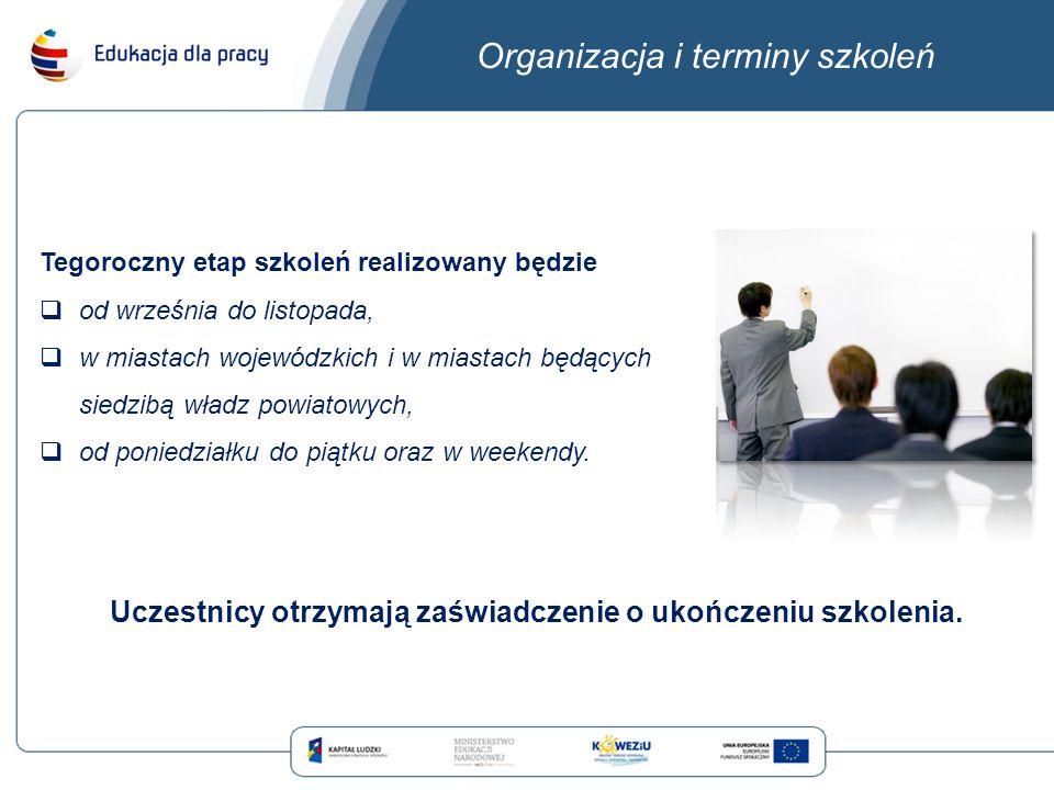 Organizacja i terminy szkoleń Tegoroczny etap szkoleń realizowany będzie  od września do listopada,  w miastach wojewódzkich i w miastach będących siedzibą władz powiatowych,  od poniedziałku do piątku oraz w weekendy.