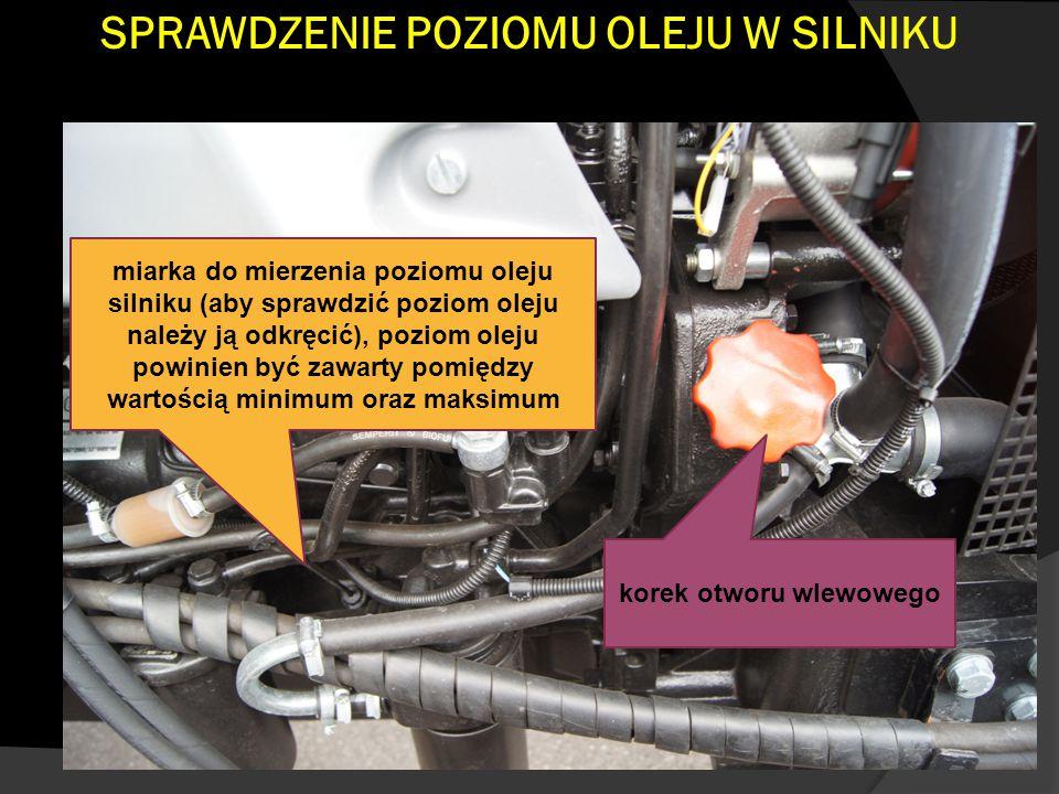SPRAWDZENIE POZIOMU OLEJU W SILNIKU miarka do mierzenia poziomu oleju silniku (aby sprawdzić poziom oleju należy ją odkręcić), poziom oleju powinien być zawarty pomiędzy wartością minimum oraz maksimum korek otworu wlewowego