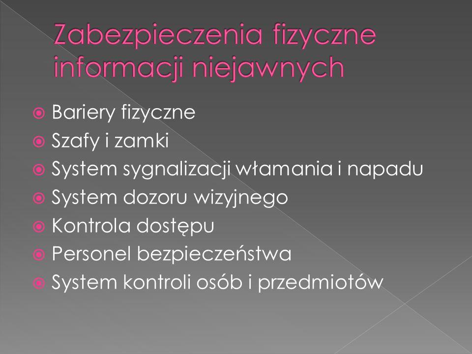  Bariery fizyczne  Szafy i zamki  System sygnalizacji włamania i napadu  System dozoru wizyjnego  Kontrola dostępu  Personel bezpieczeństwa  Sy
