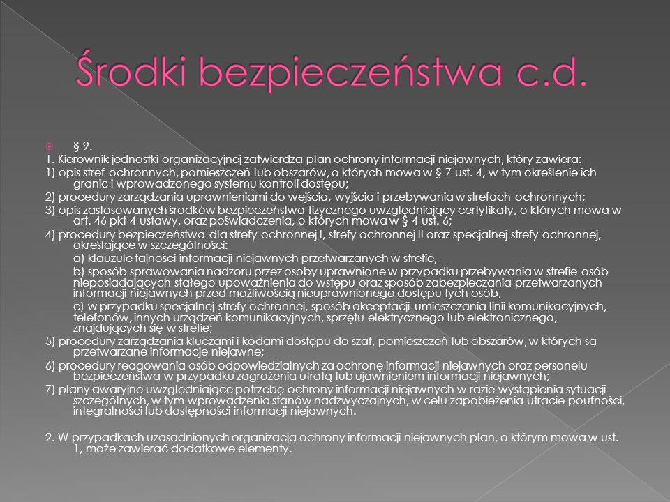  § 9. 1. Kierownik jednostki organizacyjnej zatwierdza plan ochrony informacji niejawnych, który zawiera: 1) opis stref ochronnych, pomieszczeń lub o